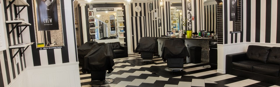 Downtown Quebec Street Mall Black and White Barbers Guelph