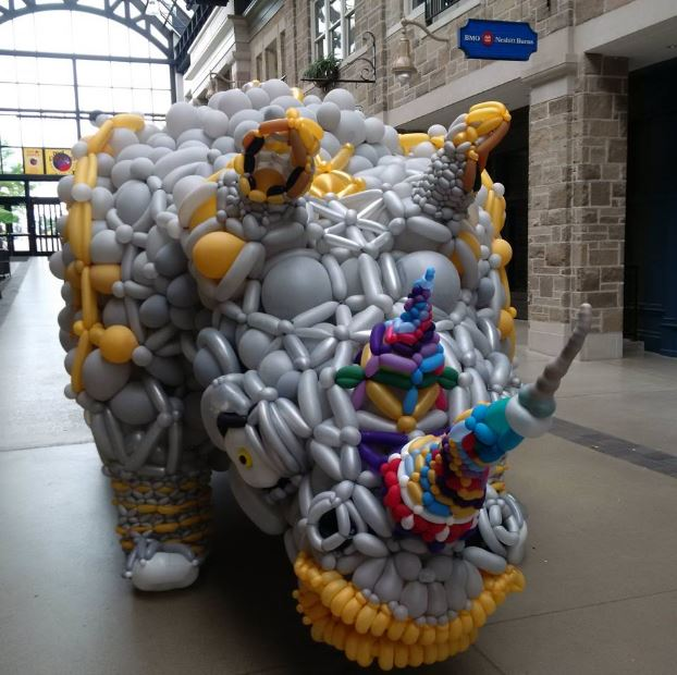Mall in Downtown guelph and Baloon Rhino